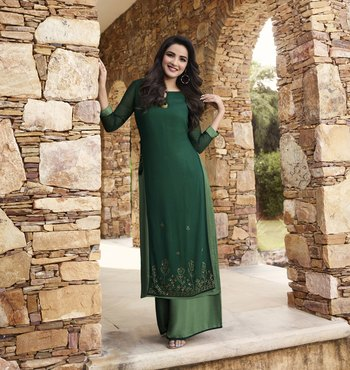 Green plain georgette ethnic-kurtis