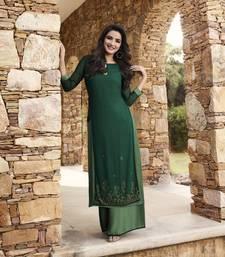 Green plain georgette ethnic-kurtis