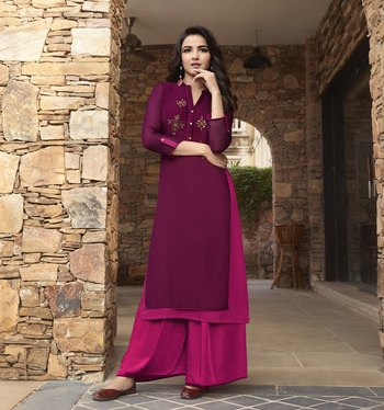 Wine Plain Georgette Ethnic-Kurtis