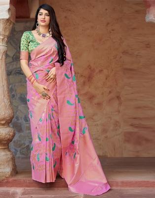 Magenta woven banarasi silk saree with blouse