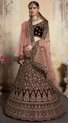 Maroon Thread embroidered pure velvet semi stitched lehenga