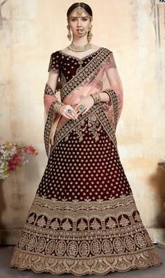 Maroon Thread embroidered pure velvet semi stitched lehenga