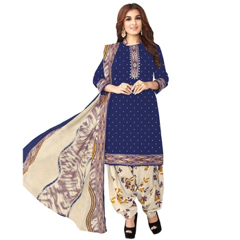 Blue printed cotton salwar