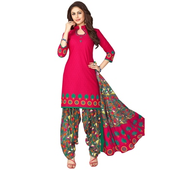Pink printed cotton salwar