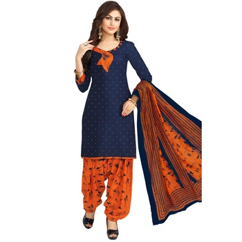 Navy-blue printed cotton salwar