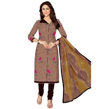 Brown printed cotton salwar