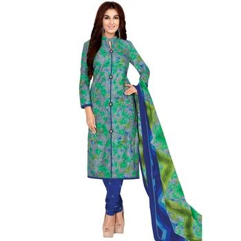 Green printed cotton salwar