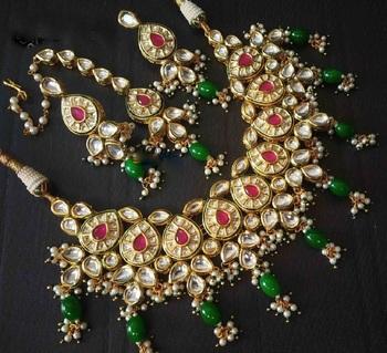 Premium kundan wedding semi precious beads gold plated necklace-sets