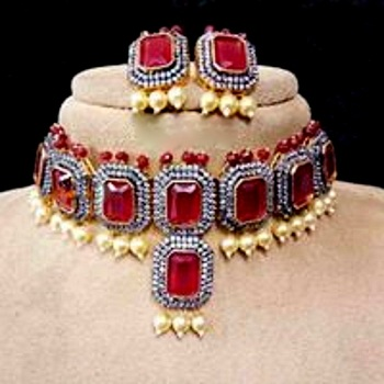 Royal Statement Ruby cubiic zirconia choker  necklace-sets