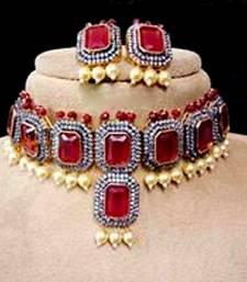 Royal Statement Ruby Cubiic Zirconia Choker  Necklace Sets