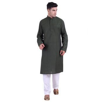 Hindloomz-Green plain cotton kurta-pajama