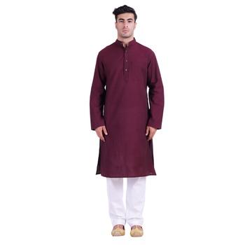 Hindloomz Maroon Plain Cotton Kurta Pajama