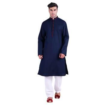 Hindloomz-Blue plain cotton kurta-pajama