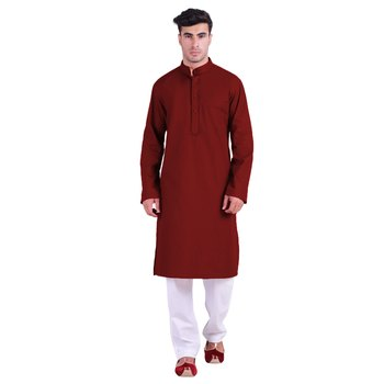 Hindloomz Red Plain Cotton Kurta Pajama