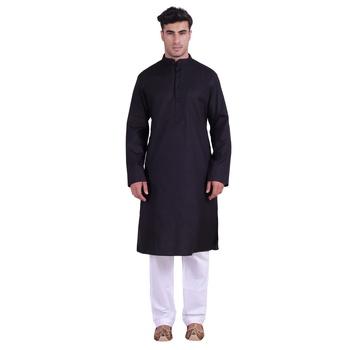 Hindloomz-Black plain cotton kurta-pajama
