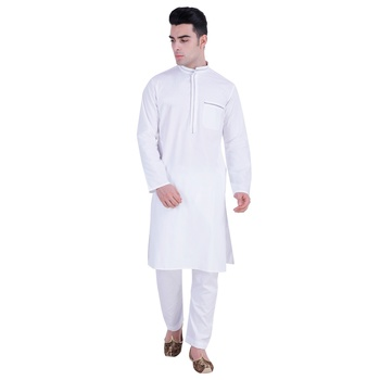 Hindloomz-White plain cotton kurta-pajama