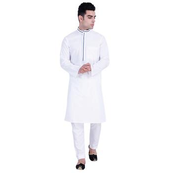 Hindloomz-White plain cotton kurta-pajama