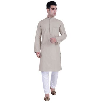 Hindloomz-Grey plain cotton kurta-pajama