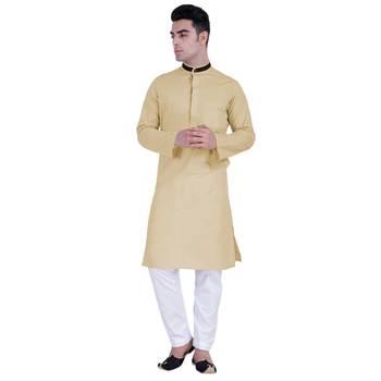 Hindloomz-Beige plain cotton kurta-pajama