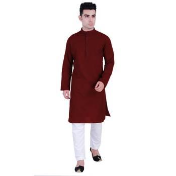 Hindloomz-Red plain cotton kurta-pajama