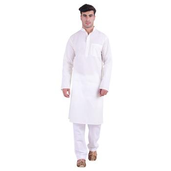 Hindloomz White Plain Cotton Kurta Pajama