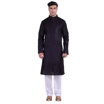 Hindloomz-Black plain cotton kurta-pajama