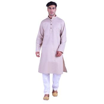 Hindloomz-Grey plain cotton kurta-pajama