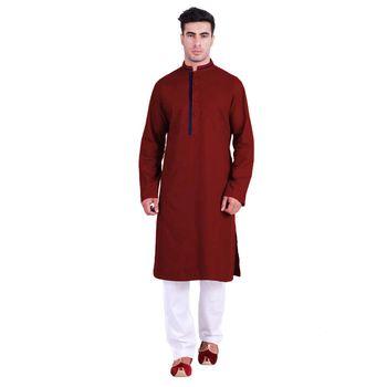 Hindloomz-Red plain cotton men-kurtas