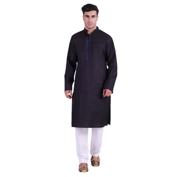 Hindloomz-Black plain cotton men-kurtas