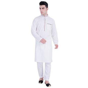 Hindloomz-White plain cotton men-kurtas