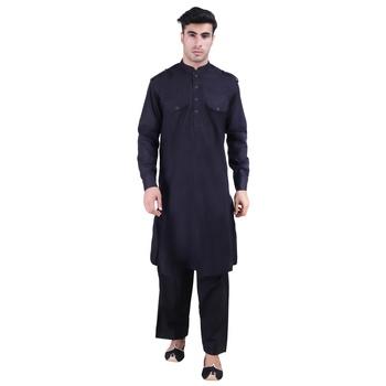 Hindloomz-Black plain cotton pathani-suits