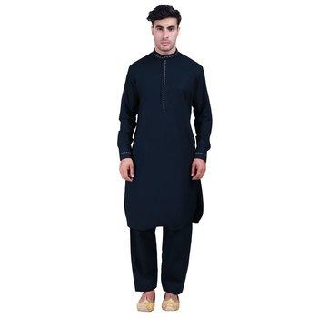 Hindloomz-Blue plain cotton pathani-suits