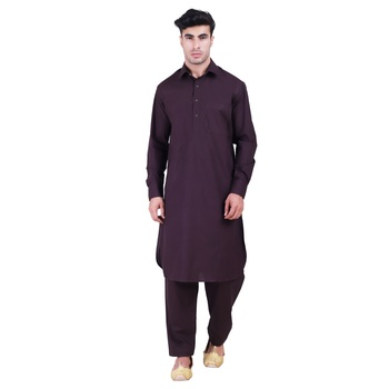 Hindloomz Brown Plain Cotton Pathani Suits