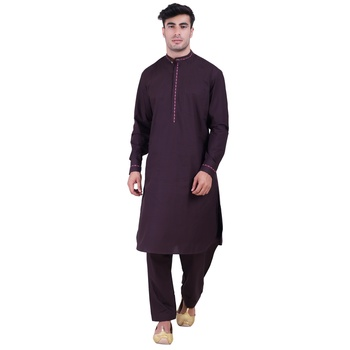 Hindloomz-Brown plain cotton pathani-suits
