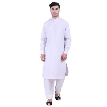Hindloomz-Grey plain cotton pathani-suits