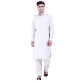 Hindloomz Grey Plain Cotton Pathani Suits