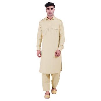 Hindloomz-Beige plain cotton pathani-suits