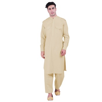 Hindloomz-Beige plain cotton pathani-suits