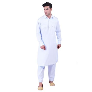 Hindloomz-Blue plain cotton pathani-suits
