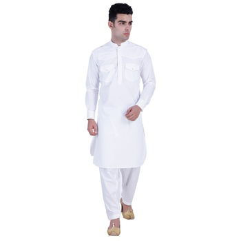 Hindloomz-White plain cotton pathani-suits
