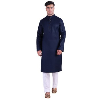 Hindloomz-Blue plain cotton men-kurtas