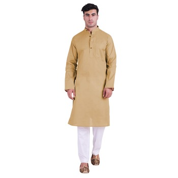 Hindloomz-Beige plain cotton men-kurtas
