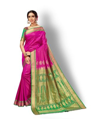 magenta hand woven silk blend saree with blouse