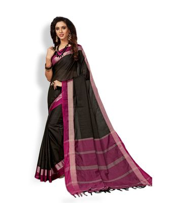 black hand woven cotton silk saree with blouse