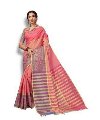 orange hand woven cotton saree with blouse