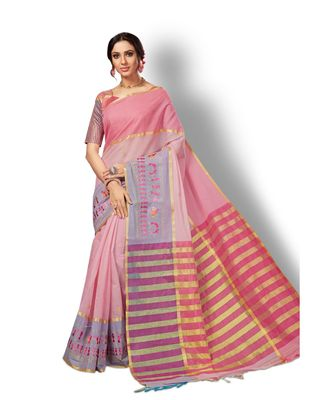 pink hand woven cotton saree with blouse