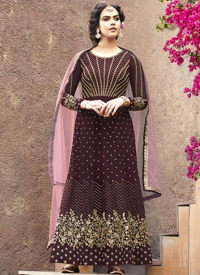 maroon embroidered faux georgette semi stitched salwar with dupatta