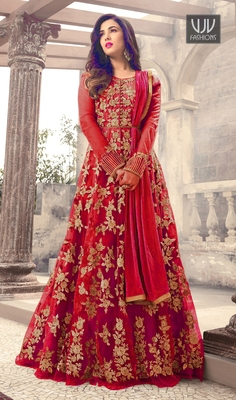 Red Embroidered Net Semi Stitched Anarkali Salwar With Dupatta