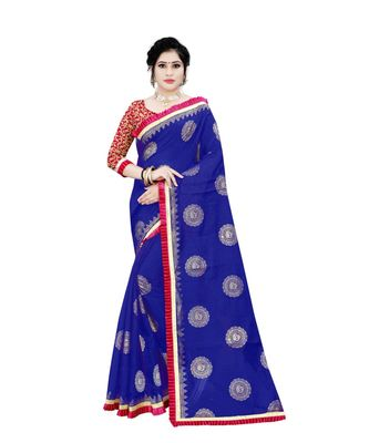 Women's blue Chanderi Cotton Saree with Jari and Satin Lace Border