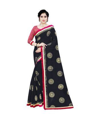Women's black Chanderi Cotton Saree with Jari and Satin Lace Border